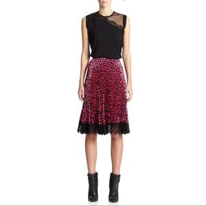 NWT Christopher Kane Pleated Leopard Print Skirt